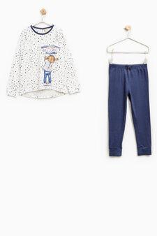 Cotton pyjamas with star pattern, White/Blue, hi-res