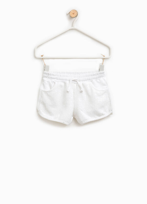Shorts en algodón elástico con lentejuelas | OVS