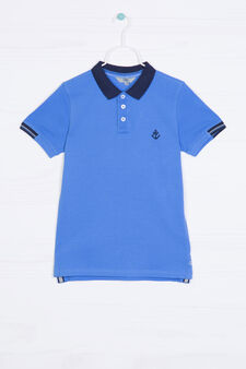 100% cotton polo shirt with buttons, Lavender, hi-res