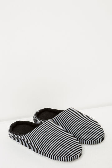 Striped jersey slippers, Black/Grey, hi-res