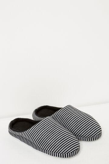 Pantofole jersey a righe, Nero/Grigio, hi-res
