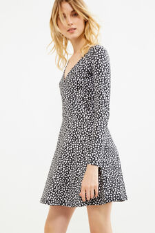 Stretch cotton dress with all-over print, Black/White, hi-res
