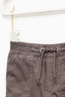 100% cotton joggers with drawstring, Dark Grey, hi-res