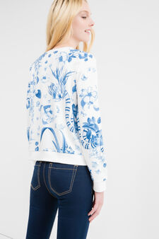Cotton blend patterned sweatshirt, White/Light Blue, hi-res