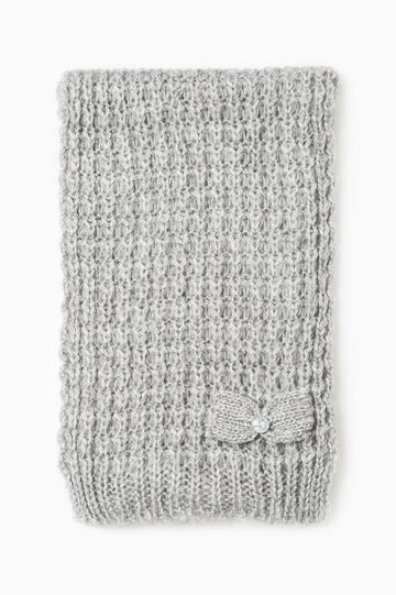 Knitted scarf with diamanté bow, Grey, hi-res