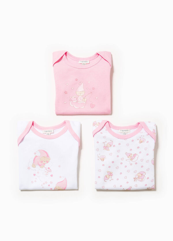Three-pack cotton solid colour and patterned bodysuits | OVS