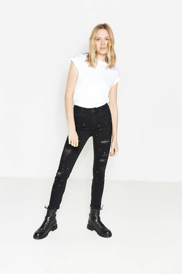 Skinny-fit jeans with studs and rips
