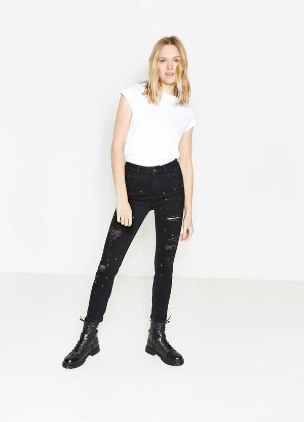 Skinny-fit jeans with studs and rips | OVS