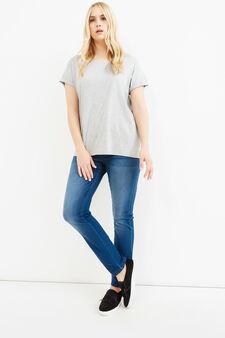Jeans stretch effetto used Curvy, Blu, hi-res