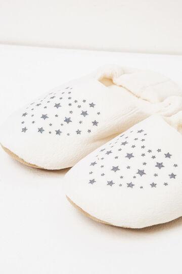 Pantofole tinta unita stampa stelle, Bianco, hi-res