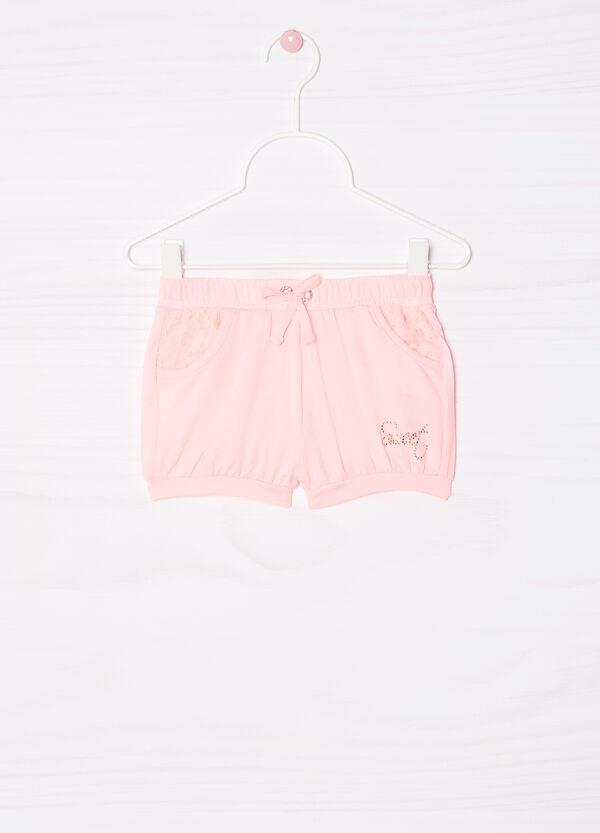 Stretch cotton shorts with diamanté trim | OVS