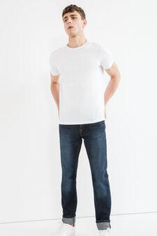 Jeans straight fit used cuciture contrasto, Lavaggio scuro, hi-res