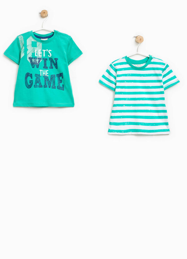 Set due t-shirt unito e righe | OVS