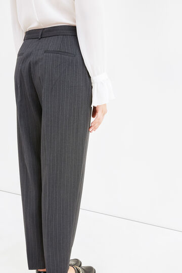 Elegant trousers with stripes and belt, Black/Grey, hi-res