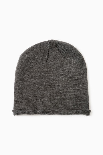 Solid colour beanie cap, Grey Marl, hi-res