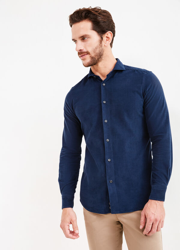 Solid colour slim-fit cotton Rumford shirt | OVS