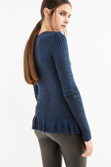 Patterned knitted pullover in 100% cotton, Black/Blue, hi-res