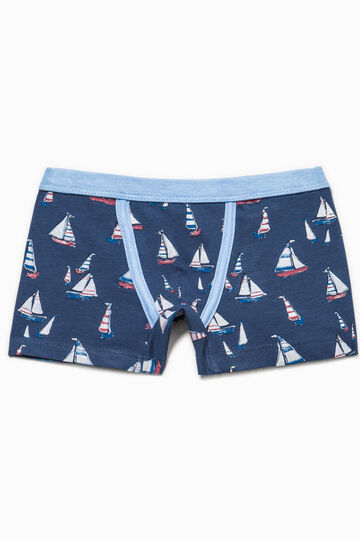 Biocotton boxer shorts with boat pattern