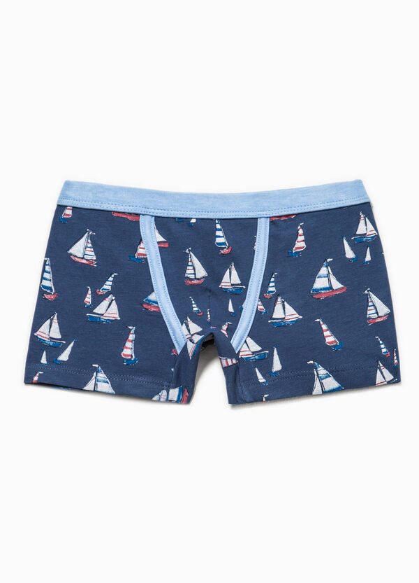 Biocotton boxer shorts with boat pattern | OVS
