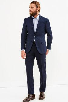 Slim-fit jacket in viscose blend, Dark Blue, hi-res