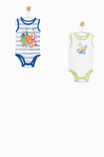 Two-pack solid colour and striped bodysuits