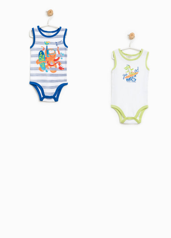 Two-pack solid colour and striped bodysuits   OVS