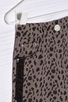 Stretch cotton animal print skirt, Dark Grey, hi-res