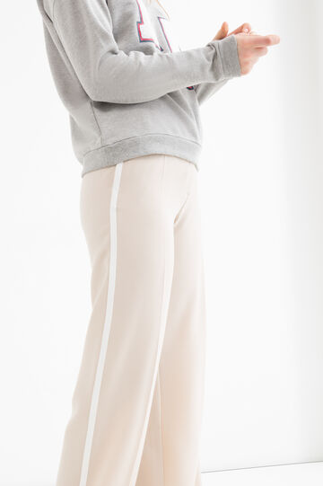 Plain stretch trousers, Beige, hi-res