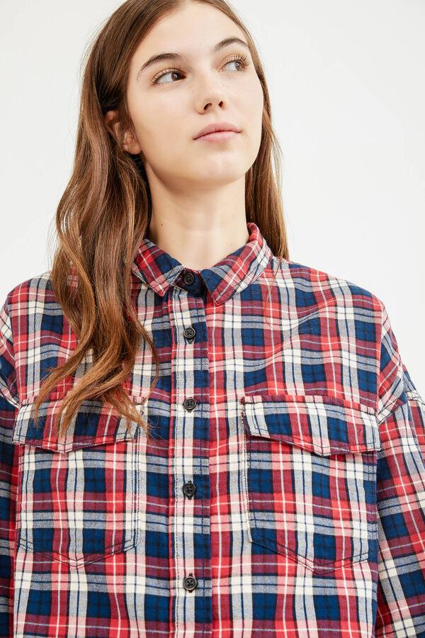 Check shirt with three-quarter sleeves | OVS