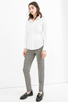 Check pattern stretch trousers, Black/Grey, hi-res