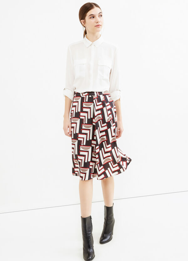 Longuette skirt with side zip and all-over print | OVS