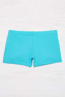 Plain stretch swim boxer shorts, Turquoise Blue, hi-res