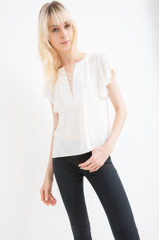 100% viscose blouse with ties, White, hi-res