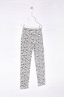 Printed stretch jeggings, Milky White, hi-res