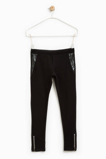 Stretch trousers with shiny inserts