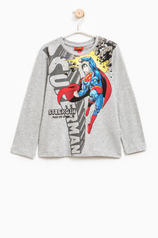 Maxi Superman print cotton T-shirt, Grey Marl, hi-res