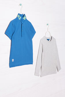 Cotton polo shirt and T-shirt outfit, Blue/Grey, hi-res