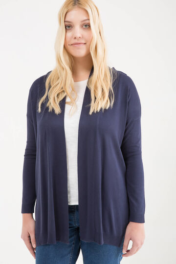 Curvy viscose blend cardigan, Navy Blue, hi-res