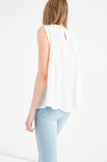 Sleeveless blouse in 100% viscose, Cream White, hi-res
