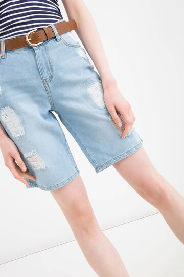 Ripped denim shorts, Soft Blue, hi-res