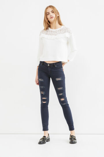 Cotton blend crop sweatshirt with lace and fringes, Milky White, hi-res