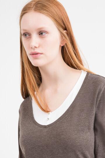 Curvy 100% cotton T-shirt, Navy Blue, hi-res