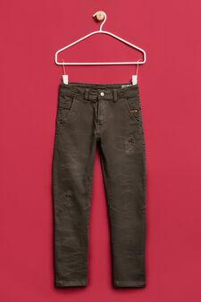 Pantaloni cotone stretch con strappi, Verde, hi-res