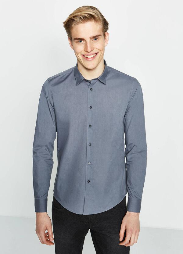 Camicia casual slim fit cotone tinta unita | OVS