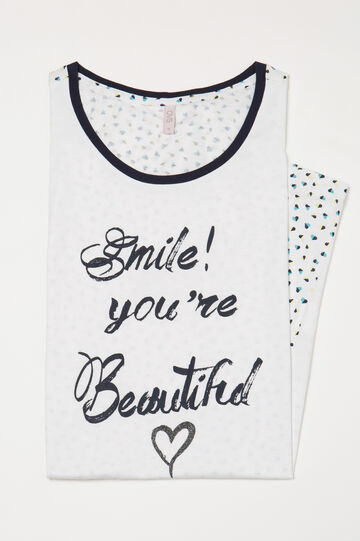 Patterned cotton nightshirt with hearts, White, hi-res