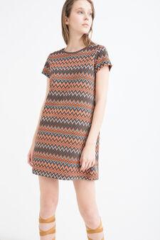 Stretch printed dress with lurex, Orange, hi-res