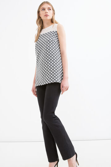 Long vest with polka dot pattern, Black/White, hi-res