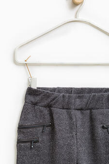 Cotton and lurex trousers with zip, Slate Grey, hi-res
