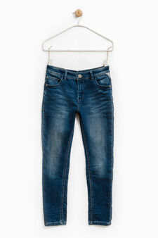 Jeans skinny fit stretch effetto used, Blu, hi-res