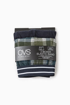 Two-pack boxer shorts solid colour and check, Blue/Green, hi-res